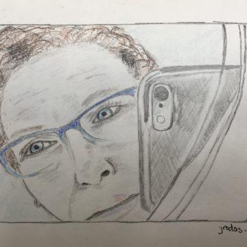 Julia self-portrait with colored pencil